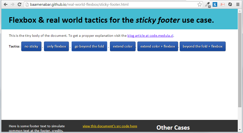 Flexbox for the real world: Sticky footer fallback – Code